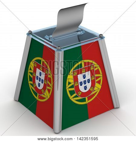 Ballot box to vote with the flag of Portugal and ballot sheet is on the white surface. Isolated. 3D Illustration
