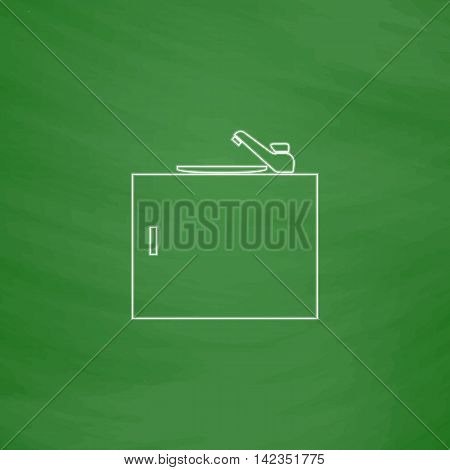 sink Outline vector icon. Imitation draw with white chalk on green chalkboard. Flat Pictogram and School board background. Illustration symbol