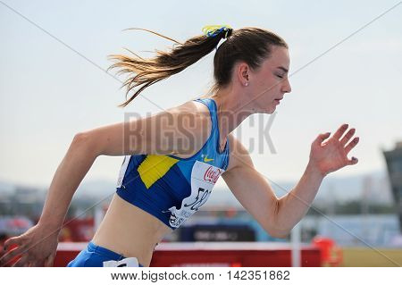 Ukrainian athlete in action during competition at the European Athletics Youth Championships in the Athletics Stadium Tbilisi Georgia 14 July 2016