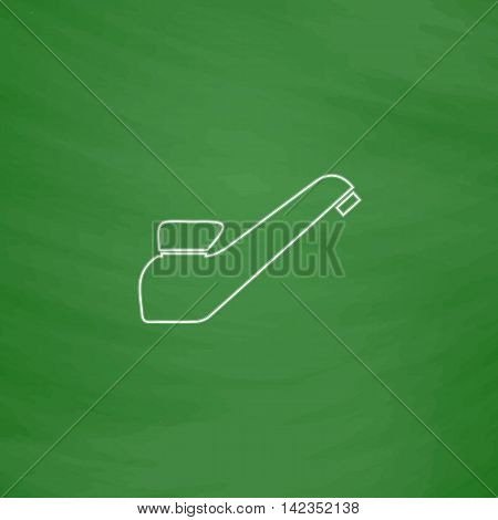 faucet Outline vector icon. Imitation draw with white chalk on green chalkboard. Flat Pictogram and School board background. Illustration symbol