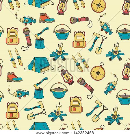 Camping holiday seamless vector pattern with color symbols - wood, fire, kerosene lamp, lantern, tent, knife, backpack, fishing, compass shoes