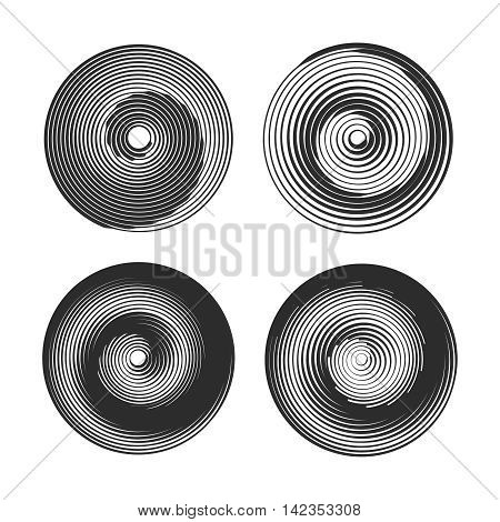 Set of spiral motion elements, black isolated objects. Vector illustration.