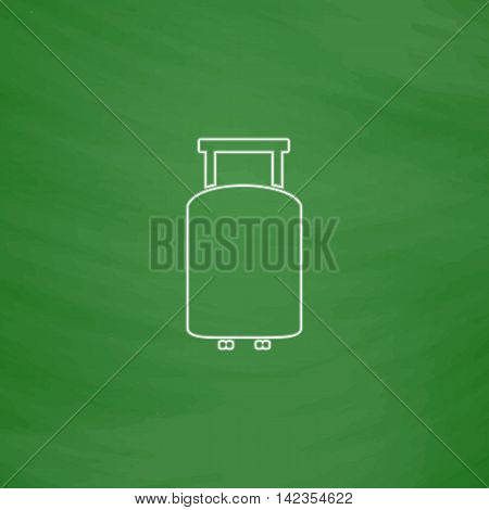 Suitcase Outline vector icon. Imitation draw with white chalk on green chalkboard. Flat Pictogram and School board background. Illustration symbol