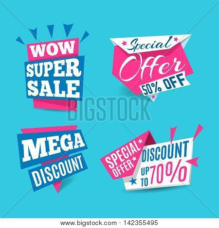 Sale limited offer banner set. Marketing special offer. Modern graphic style.