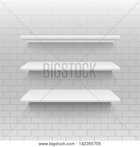 Vector abstract background. Empty shelf on a wall. Eps 10.