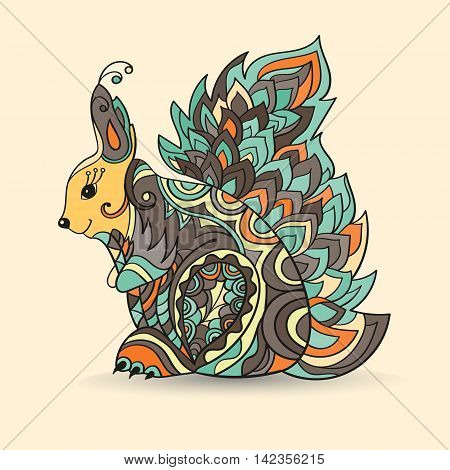 Zentangle squirrel vector illustration isolated. Hand drawn squirrel for your design - for print bags, posters, cards, stationery , for web banners, advertisement for t-shirt, tattoo. Squirrel in zen tangle style.