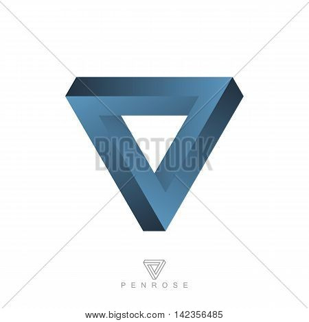 penrose triangle. impossible object. optical illusion. esoteric or science symbol. isolated on white background. vector illustration