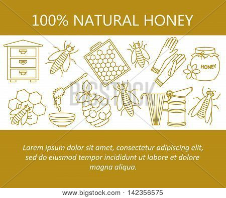 Honey vector card with thin line icons - sweet honey, natural honeycomb, beehive, wax, honeycomb, and other apiary equipment signs.