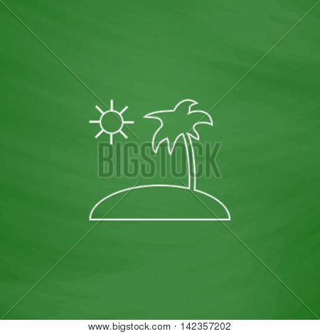 isle Outline vector icon. Imitation draw with white chalk on green chalkboard. Flat Pictogram and School board background. Illustration symbol