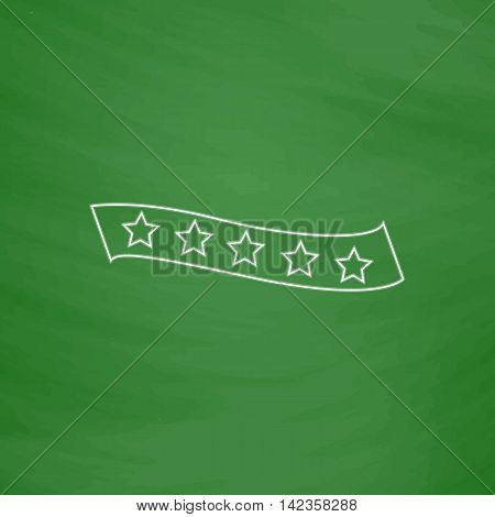 star ribbon Outline vector icon. Imitation draw with white chalk on green chalkboard. Flat Pictogram and School board background. Illustration symbol