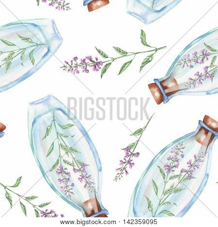 Seamless pattern with watercolor bottles with salvia flowers inside, hand drawn isolated on a white background