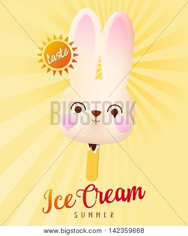 Hare Ice Cream Summer Illustration. Vector poster isolated on colorful background.