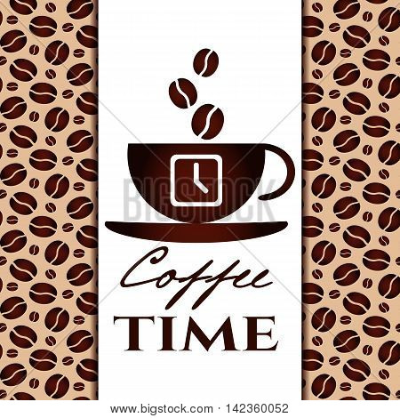 It's coffee time conceptual card. Coffee cup with time ans coffee beans on white banner. Design card poster in retro style for coffee break shop or cafe. Vector illustration
