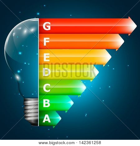 Energy Rating Graph with arrows and light lamp. Vector 3d illustration.