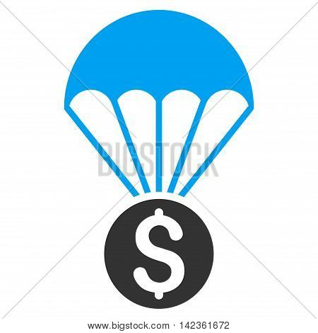 Financial Parachute icon. Glyph style is bicolor flat iconic symbol with rounded angles, blue and gray colors, white background.