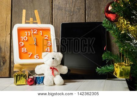 Counting down to new year with blank tablet