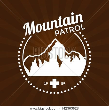 Vintage skiing resort or mountain patrol label, emblem or logo with mountain and cross