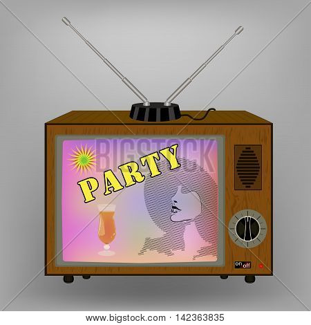 Retro TV . Advertising with a cocktail party on TV. switches and antenna. vector illustration