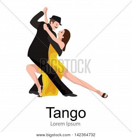 Yong couple man and woman dancing tango with passion, tango dancers vector illustration isolated on white Latin and ballroom dances, peoples dansing tango, girl and boy tango