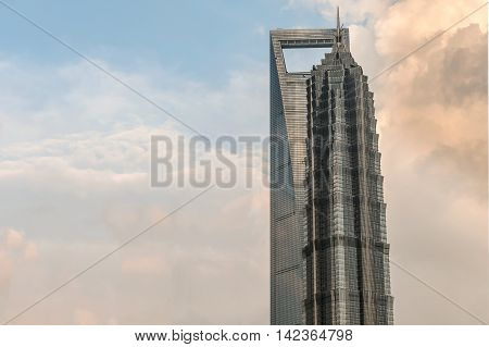 The Shanghai World Financial Center And Jin Mao Tower Adjacent To Each Other.