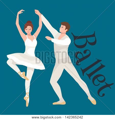 Young beautiful dancer girl and boy, couple man and woman dancing ballet, elegance ballerina dancing isolated on white vector illustration, girl dancing ballet, beautiful ballerina dance