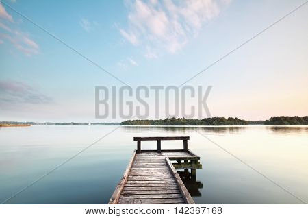 wooden pier on big lake Paterswoldsemeer Netherlands