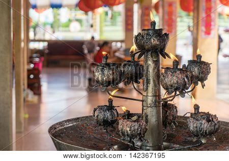Ancient Chinese Temple rustic Metal Candles Holder