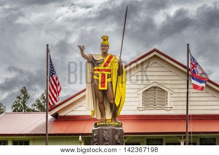King Kamehameha Statue by Thomas Gould from 1878. The statue was lost at sea miraculously recovered restored and placed in Kapa'au in 1912 on Big Island of Hawaii.