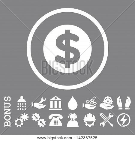 Finance vector icon. Image style is a flat pictogram symbol inside a circle, white color, gray background. Bonus images are included.