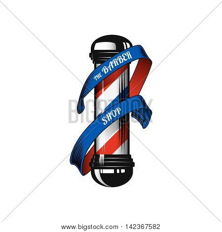Barber shop pole and ribbon with text.