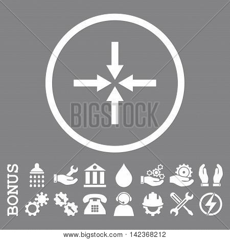 Impact Arrows vector icon. Image style is a flat pictogram symbol inside a circle, white color, gray background. Bonus images are included.