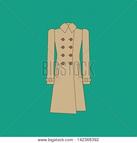 Coat trench illustration on the green background. Vector illustration