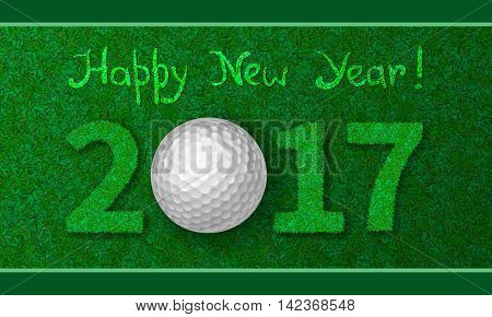 Golf ball on grass with numbers of new year 2017. Greeting card with grass background