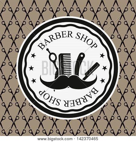 Logo for barbershop hair salon. Barbershop sign. Vector Illustration.