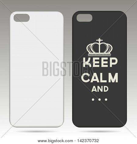 Blank phone case on a gray background. Vector illustration.