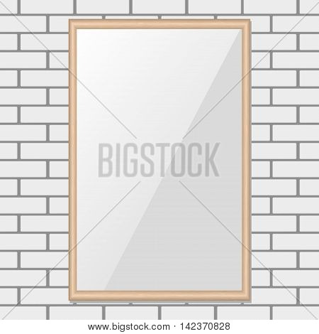 Gallery Interior with empty frame on brick wall . vector