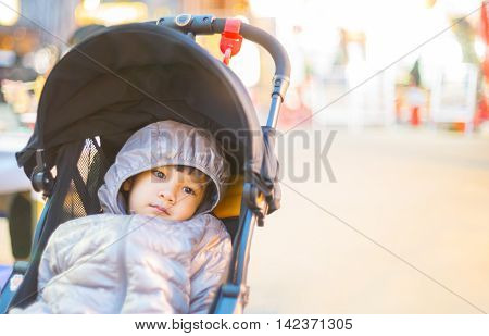 Asian Girl wearing a winter clothes with copy space