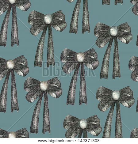 A seamless pattern with a dark bows decorated by jewel (gemstone), painted in colored pencils on a dark blue background