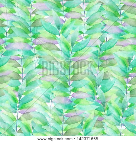 A seamless floral pattern with the green and violet leaves on the branches, hand-drawn in a watercolor on a white background