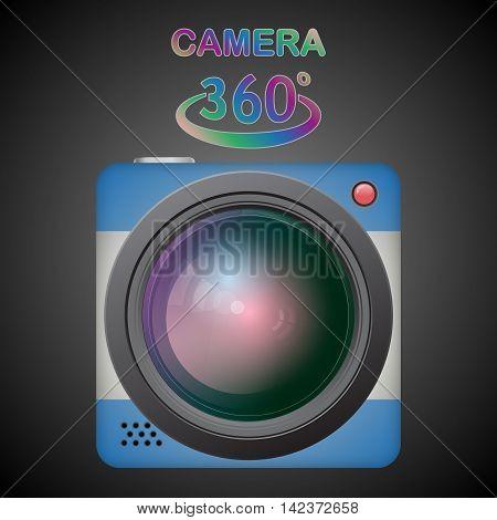 360 camera. Panorama cam. Isolated on black background.