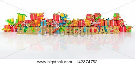 Happy Holidays Golden Text And Varicolored Gifts