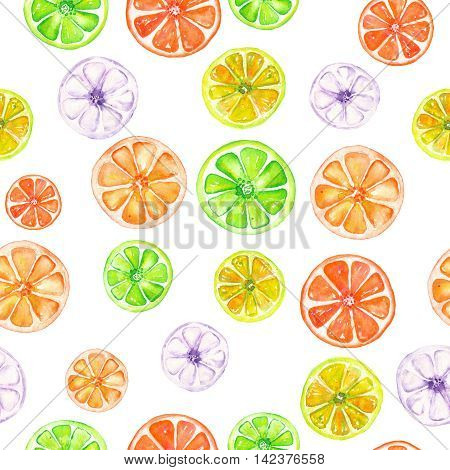 Seamless pattern with colored candied fruits painted in watercolor on a white background
