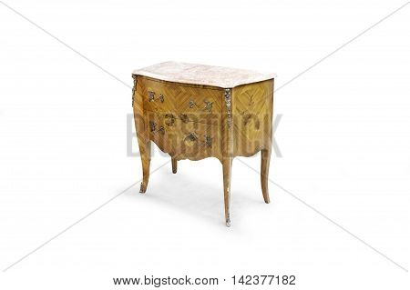 Vintage dresser on the white background with clipping path