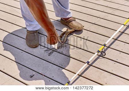 Fisherman Removing Hook From Catfish