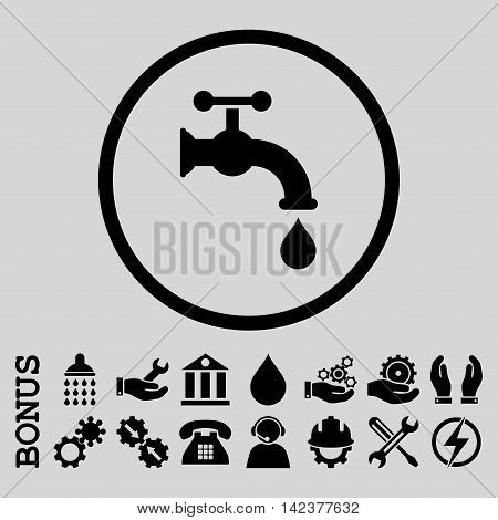 Water Tap vector icon. Image style is a flat pictogram symbol inside a circle, black color, light gray background. Bonus images are included.