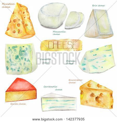Image set of the isolated watercolor Dutch and Swiss cheeses, blue French cheeses. Painted hand-drawn in a watercolor on a white background.