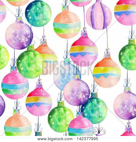Seamless pattern with colored Christmas decorations (balls) painted in watercolor on a white background