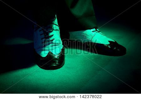 Black and white male dancing shoes. Swing dance.
