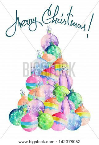 Illustration (image) of Christmas tree of colored Christmas balls painted in watercolor on a white background