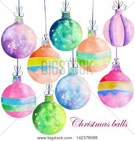 Collection (set) of isolated colored Christmas decorations (balls) painted in watercolor on a white background